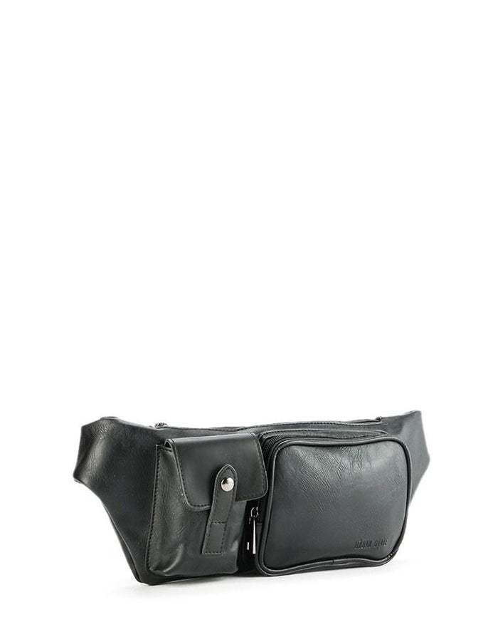 Distressed Leather Zipper Waist Pouch - Black