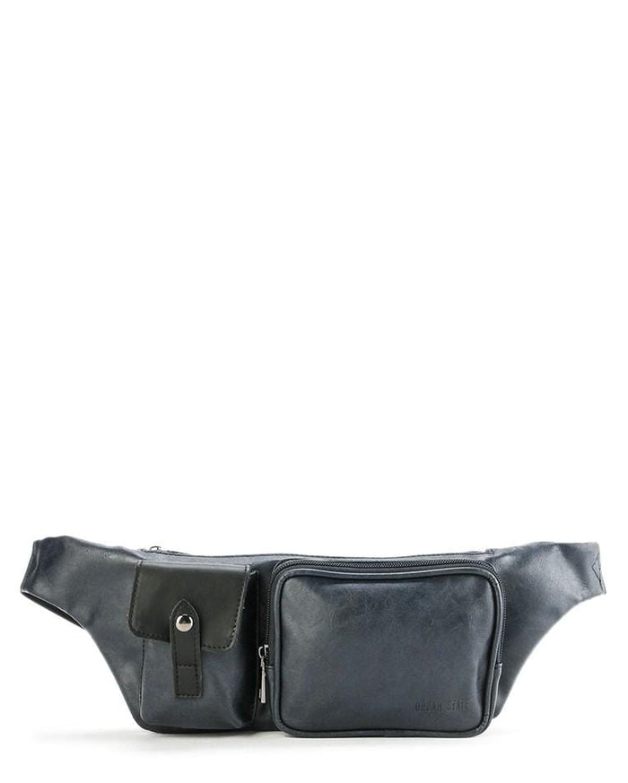 Distressed Leather Zipper Waist Pouch - Navy