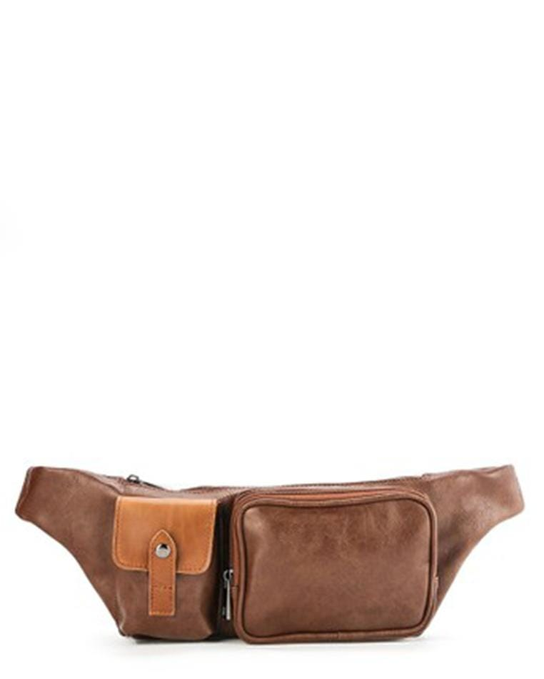 Distressed Leather Zipper Waist Pouch - Camel