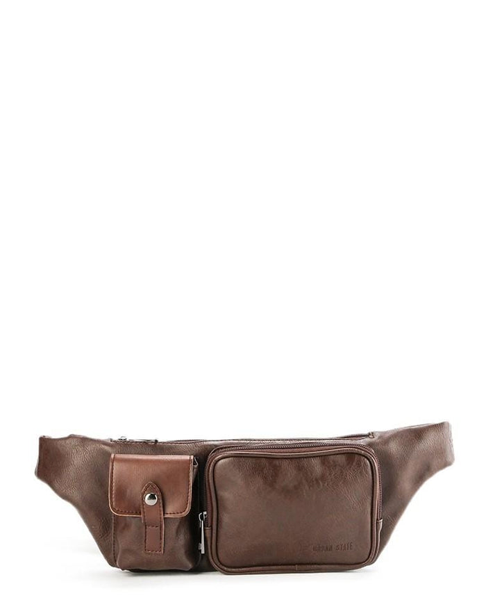 Distressed Leather Zipper Waist Pouch - Dark Brown