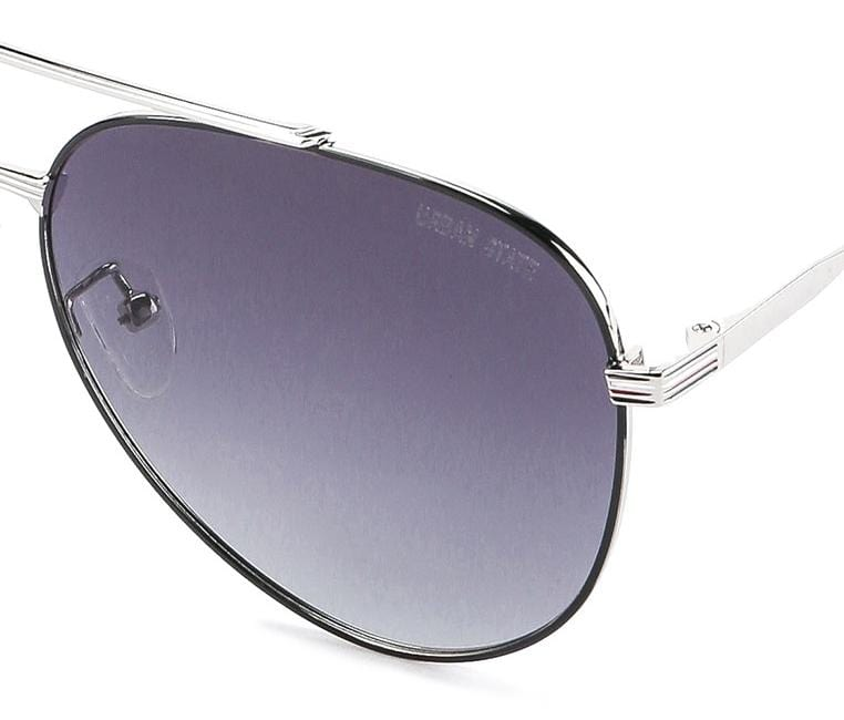 Polarized Metal Framed Compact Aviator Sunglasses - Black Silver