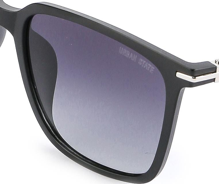 Polarized Plastic Framed Large Square Sunglasses - Black Matte
