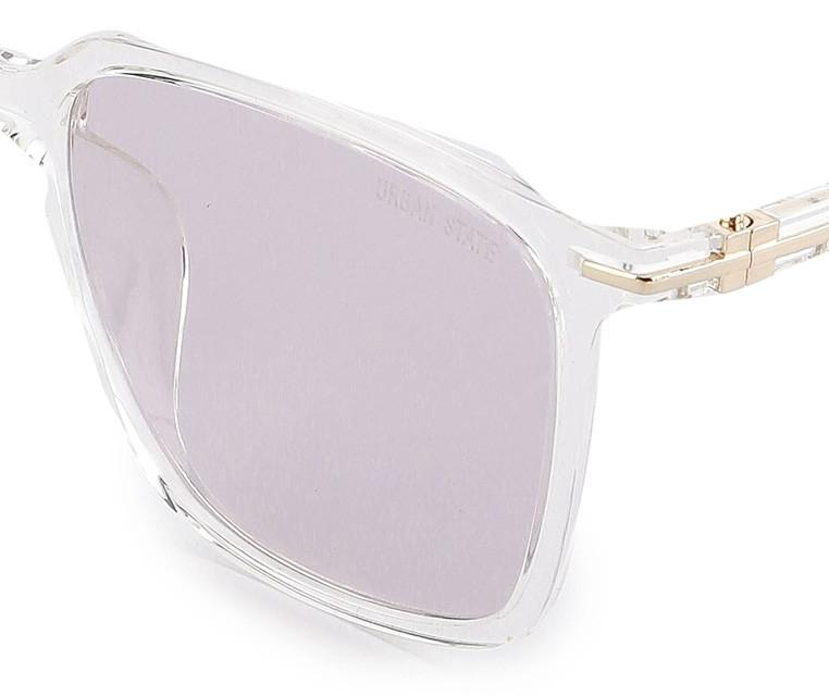 Polarized Plastic Framed Large Square Sunglasses - Pink Clear