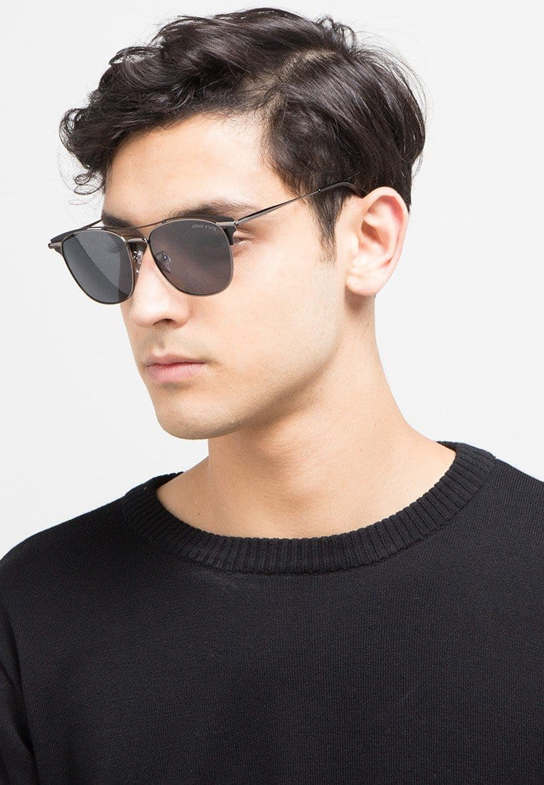 Polarized Crossbar Aviator Sunglasses - Black Silver Sunglasses - Urban State Indonesia