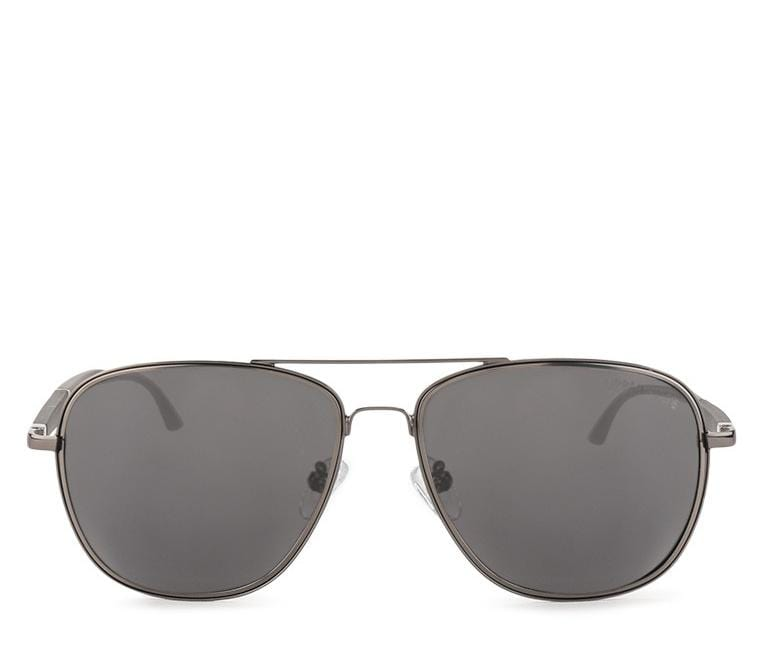Polarized Oversized Aviator Sunglasses - Black Silver