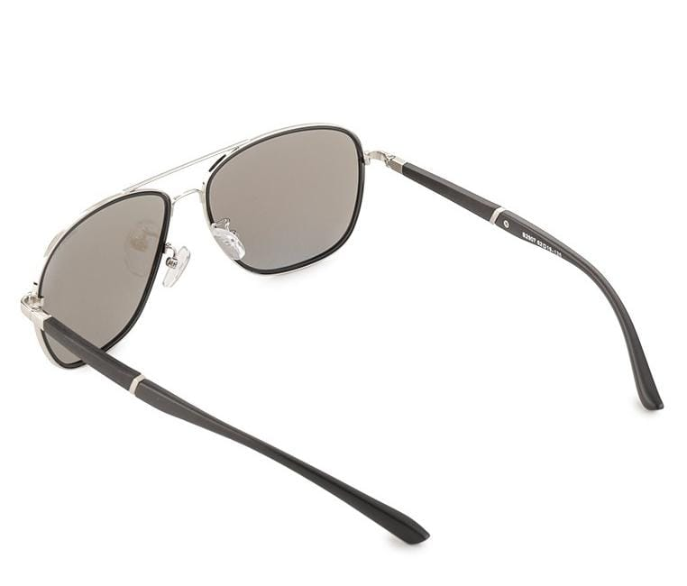 Polarized Oversized Aviator Sunglasses - Blue Silver