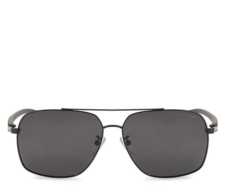 Polarized Square Aviator Sunglasses - Black Black