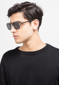 Polarized Square Aviator Sunglasses - Black Gold