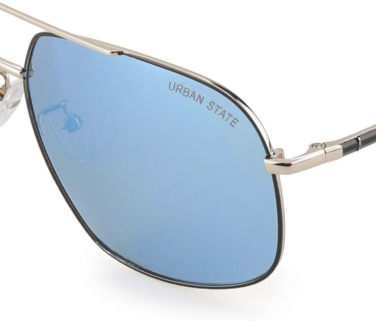 Polarized Curved Aviator Sunglasses - Blue Silver Sunglasses - Urban State Indonesia