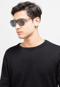Polarized Tilted Edge Aviator Sunglasses - Black Gold