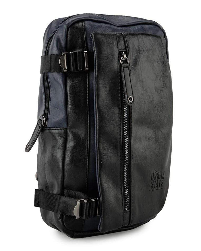 Pu Buckled Zipper Sling Bag - Navy