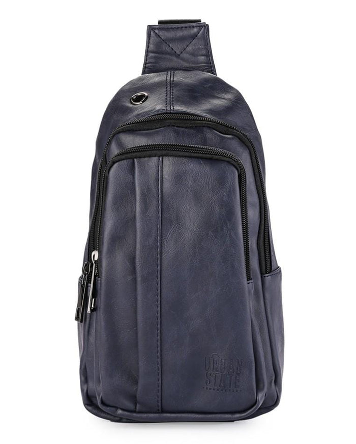 Distressed Leather Pu Pocket Slingbag - Navy Slingbags - Urban State Indonesia