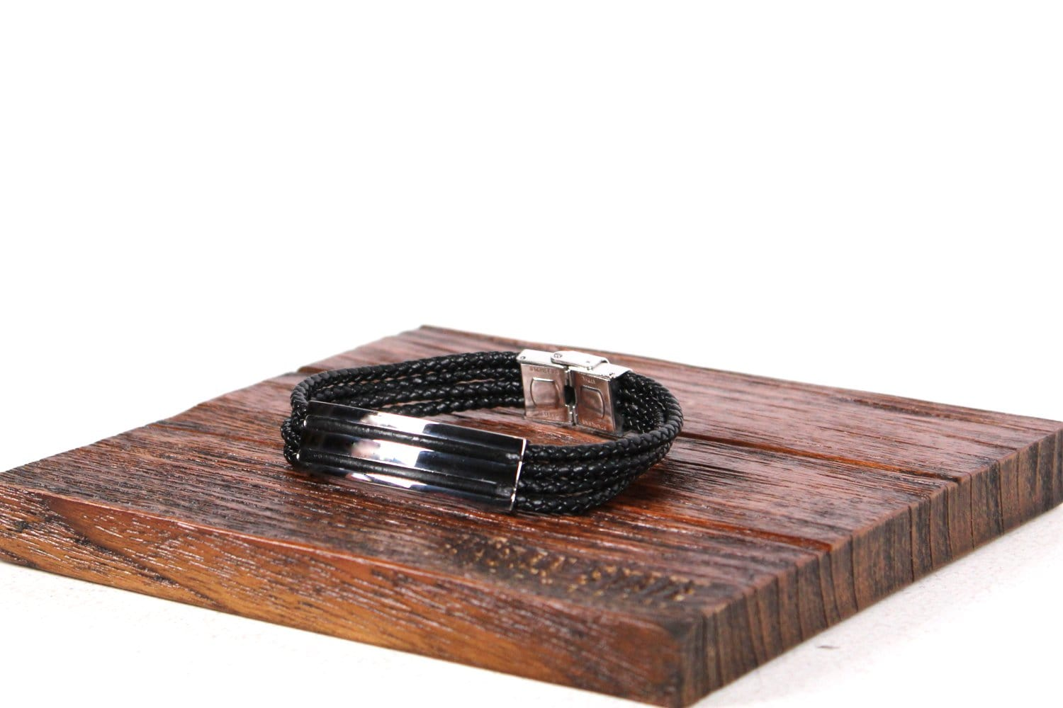Metal Segment Braided Leather Bracelet - Black Bracelets - Urban State Indonesia