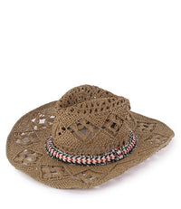 Western Crochet Raffia Fedora Hat - Brown