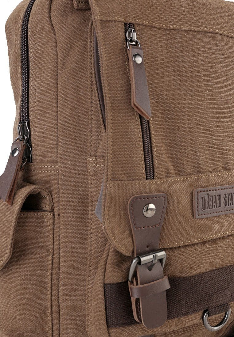 Canvas PU Buckle Backpack - Brown Backpacks - Urban State Indonesia