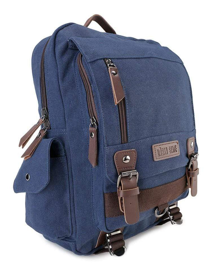Canvas PU Buckle Backpack - Navy Backpacks - Urban State Indonesia