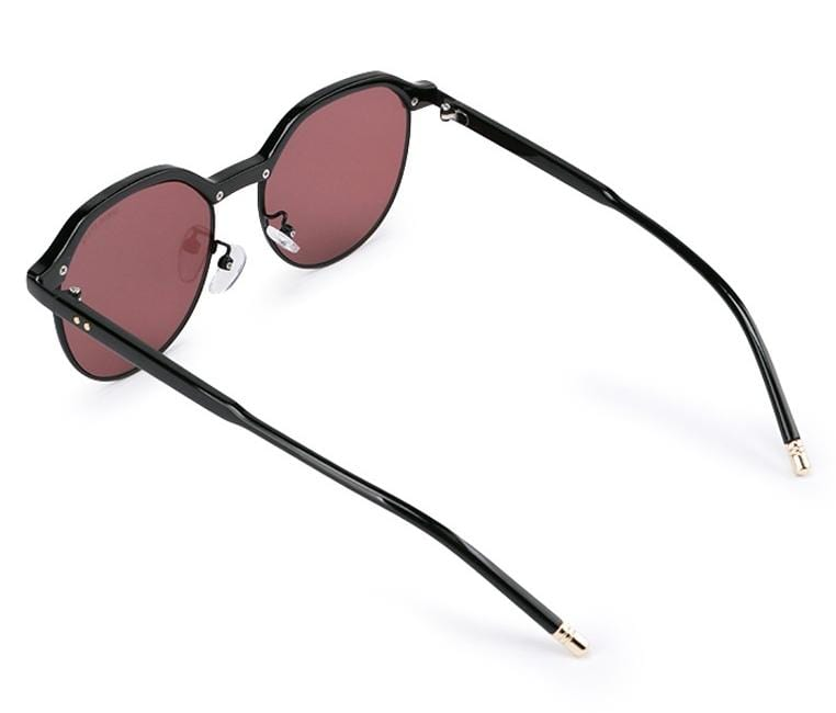 Half Frame Retro Sunglasses - Purple Black