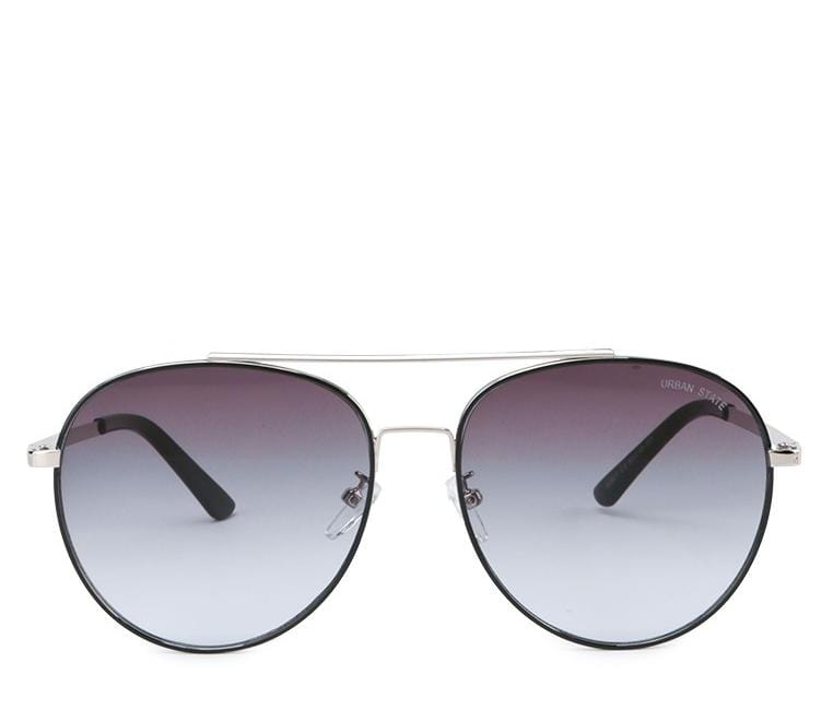 Metal Frame Gradient Lens Aviator Sunglasses - Blue Silver
