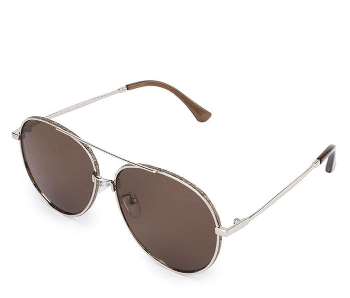 Oversized Metal Frame Aviator Sunglasses - Brown Silver