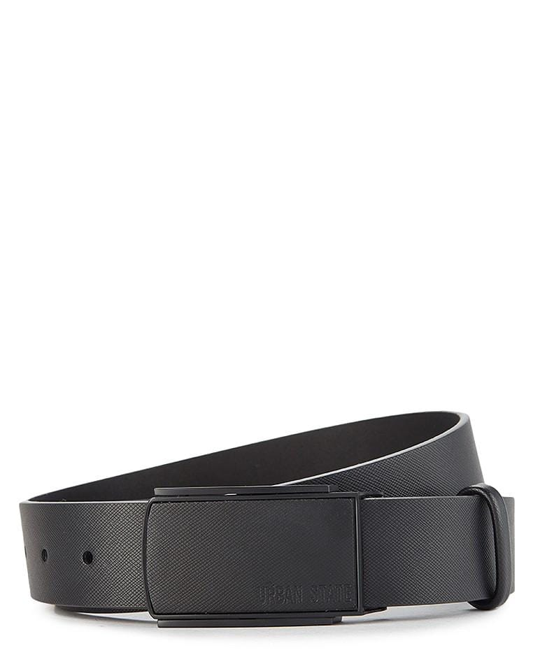 Textured Top Grain Leather Plate Buckle Belt Belts - Urban State Indonesia