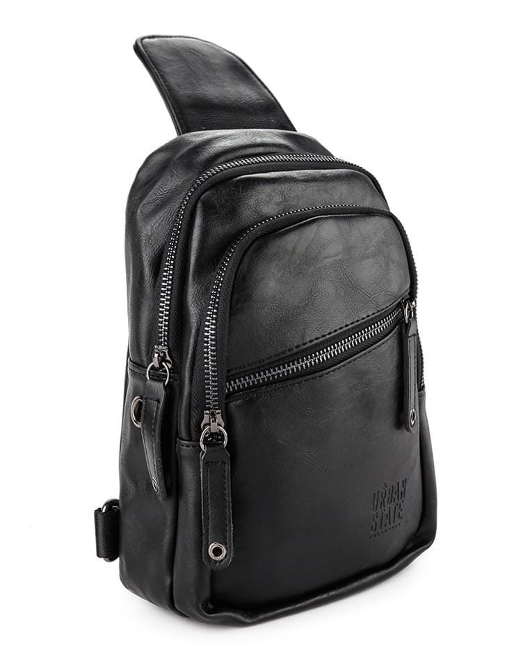 Pu Zip Pocket Small Slingbag - Black