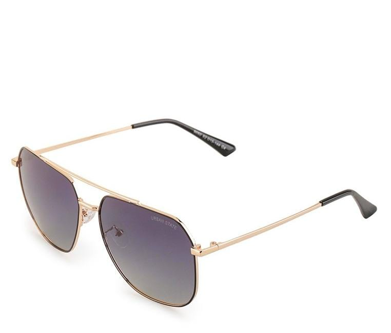 Polarized Tilted Square Aviator Sunglasses - Black Gold