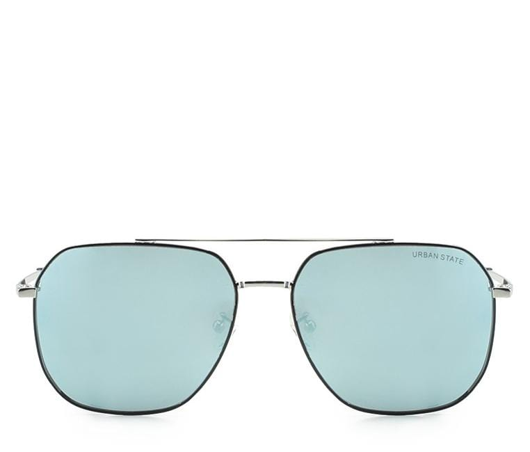 Polarized Tilted Square Aviator Sunglasses - Blue Silver Sunglasses - Urban State Indonesia