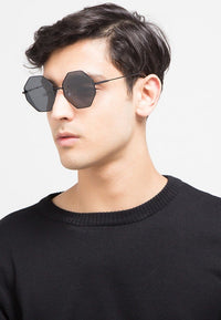Polarized Hexagon Sunglasses - Black Black Sunglasses - Urban State Indonesia
