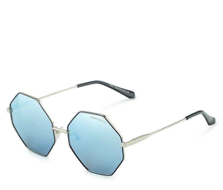 Polarized Hexagon Sunglasses - Blue Silver Sunglasses - Urban State Indonesia