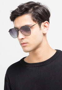 Polarized Brow Bar Aviator Sunglasses - Black Silver Sunglasses - Urban State Indonesia
