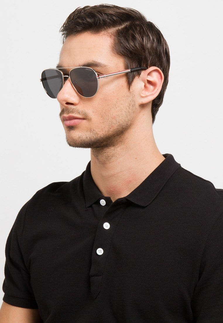 Polarized Lead Oval Aviator Sunnies - Black Silver Sunglasses - Urban State Indonesia