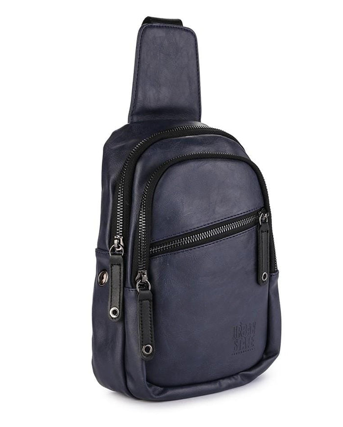 Pu Zip Pocket Small Slingbag - Navy Slingbags - Urban State Indonesia