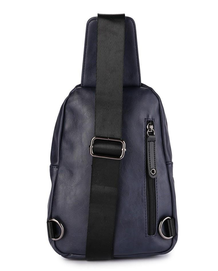 Pu Zip Pocket Small Slingbag - Navy