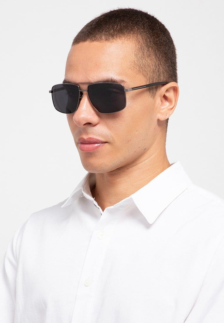 Polarized Rectangular Slim Framed Aviator Sunglasses - Black Silver Sunglasses - Urban State Indonesia
