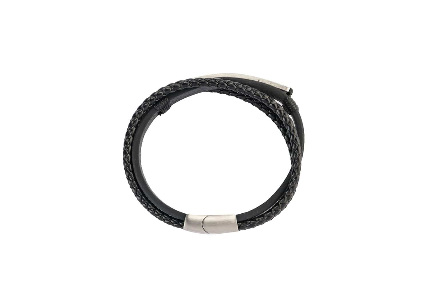 Metal Plate Triple Leather Bracelet - Black Bracelets - Urban State Indonesia