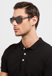 Polarized Curved Plastic Framed Sunnies - Black Silver Sunglasses - Urban State Indonesia