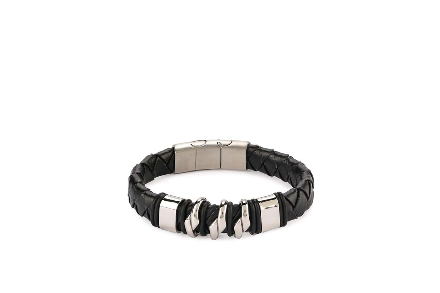 Stainless Woven Leather Bracelet - Black
