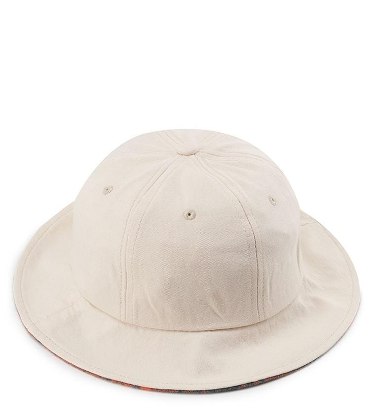 Checker Brim Tropical Hat - Cream