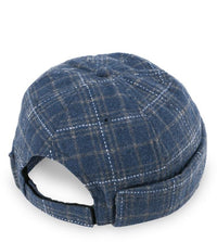 Plaid Brimless Baseball Cap - Navy