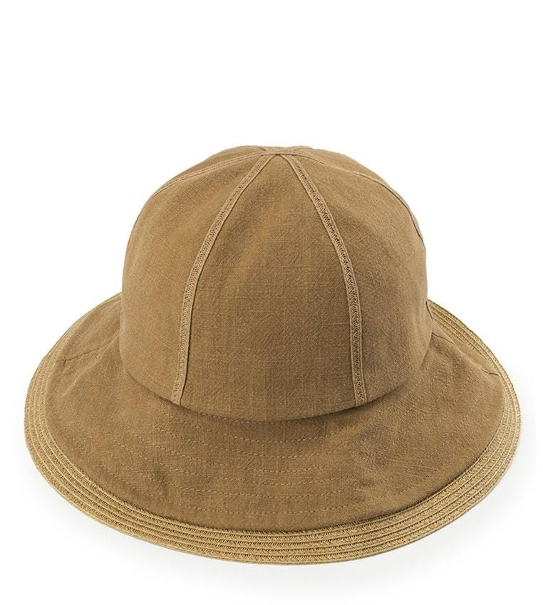Contrast Trim Tropical Hat - Brown Cream