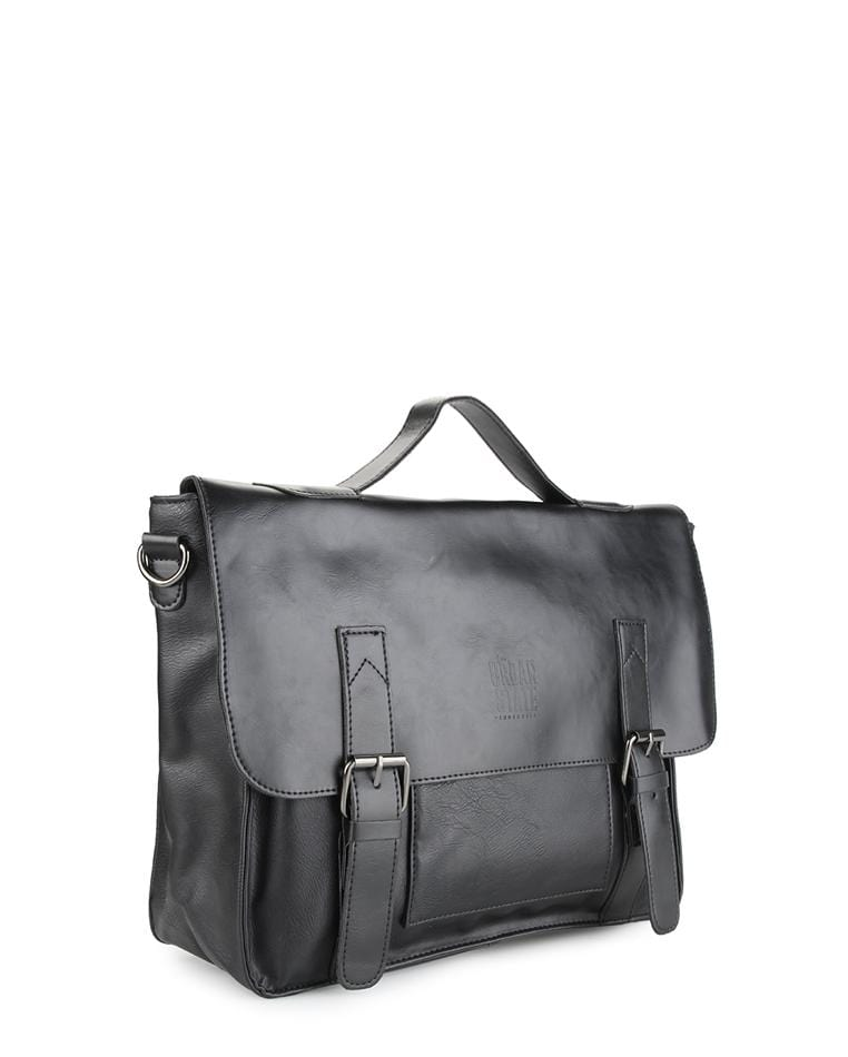 Distressed Leather Office Bag - Black Messenger Bags - Urban State Indonesia