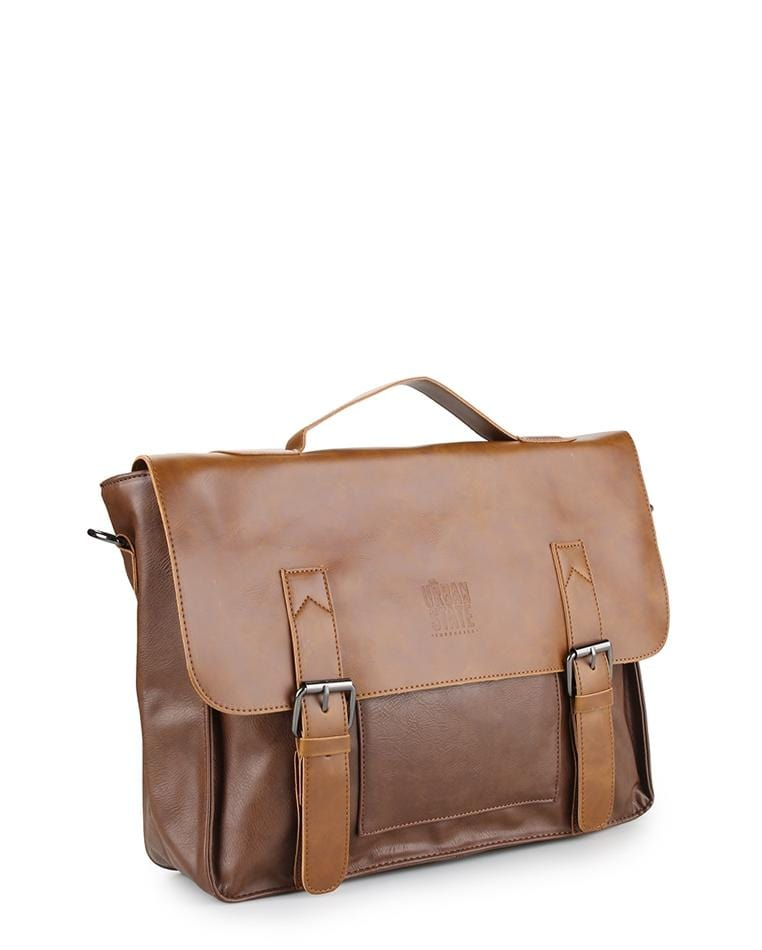 Distressed Leather Office Bag - Camel Messenger Bags - Urban State Indonesia