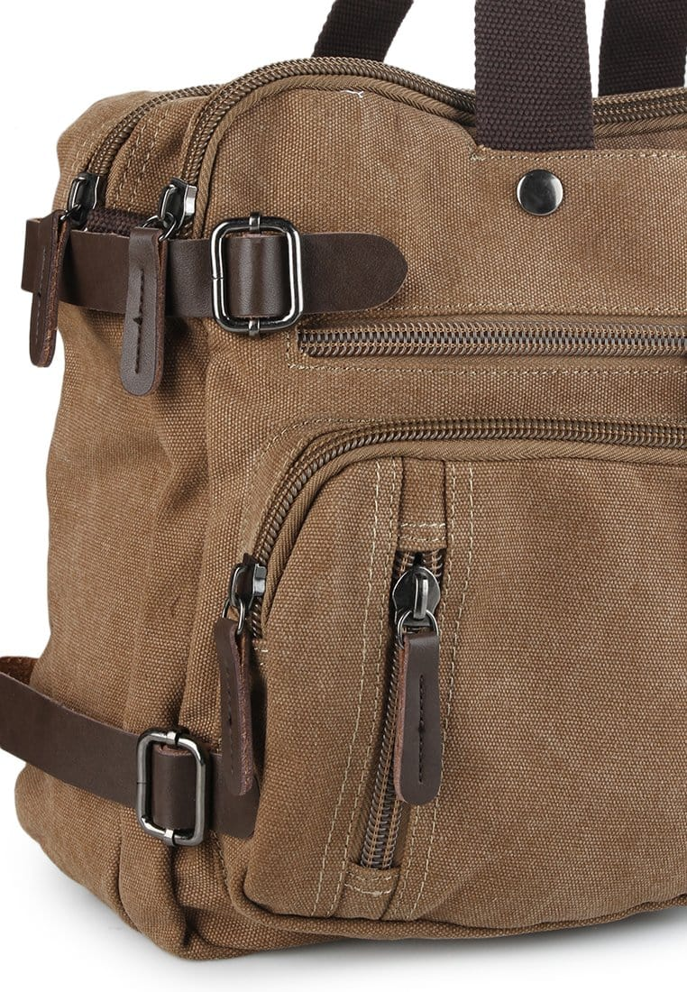 Canvas Pocket Top Handle Crossbody Bag - Brown Messenger Bags - Urban State Indonesia