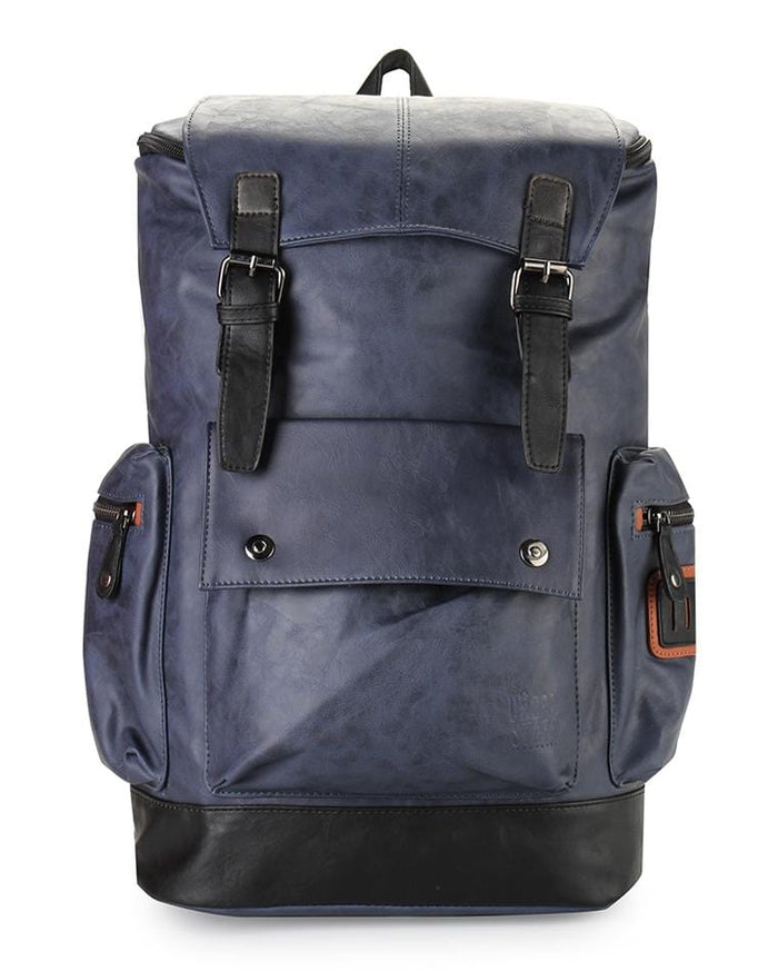 Pu Buckled Flap Large Backpack - Navy Backpacks - Urban State Indonesia