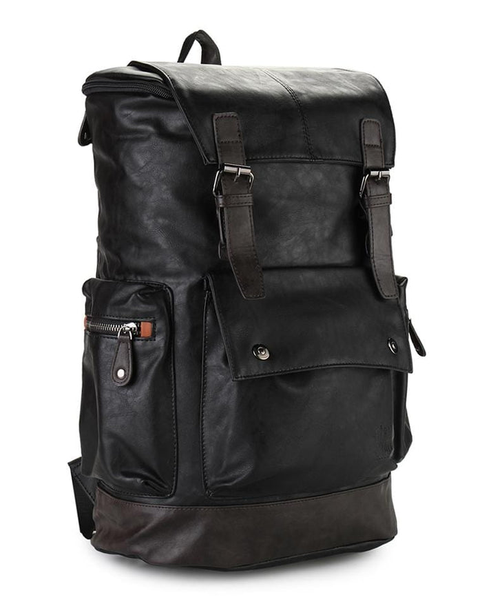 Pu Buckled Flap Large Backpack - Black Backpacks - Urban State Indonesia
