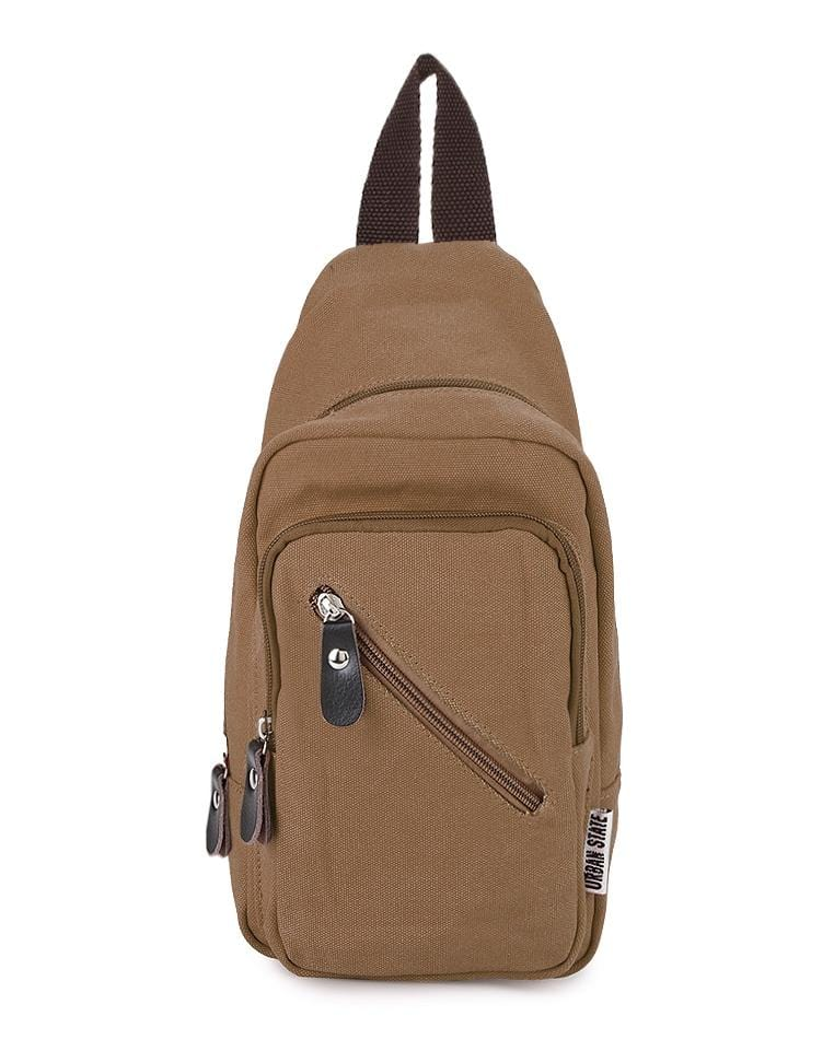 Canvas Zipper Small Slingbag - Brown Slingbags - Urban State Indonesia