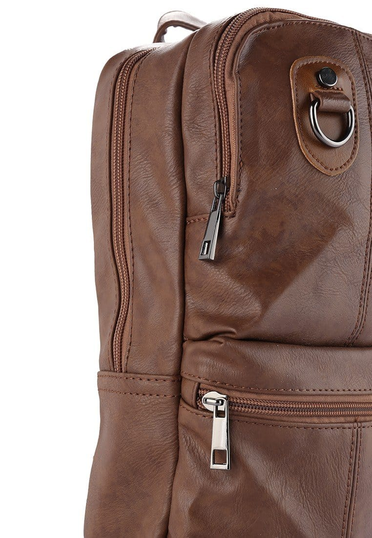 Distressed Leather Utility Long Slingbag - Camel Slingbags - Urban State Indonesia