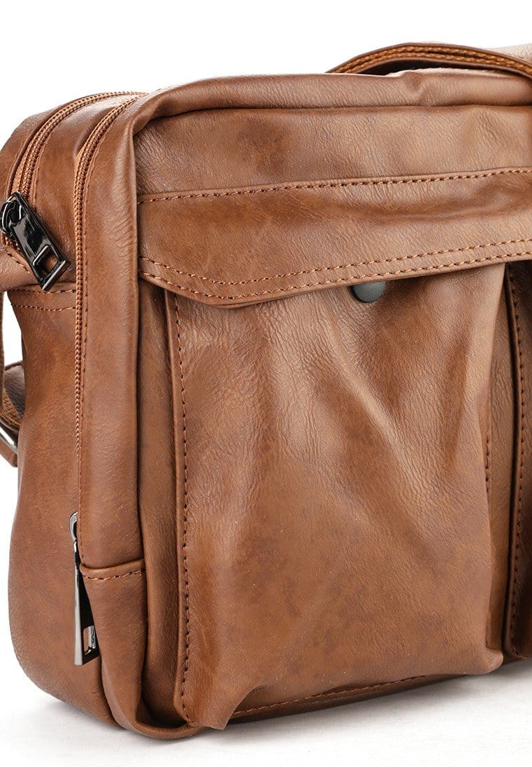 Distressed Leather EDC Crossbody Bag - Camel Messenger Bags - Urban State Indonesia