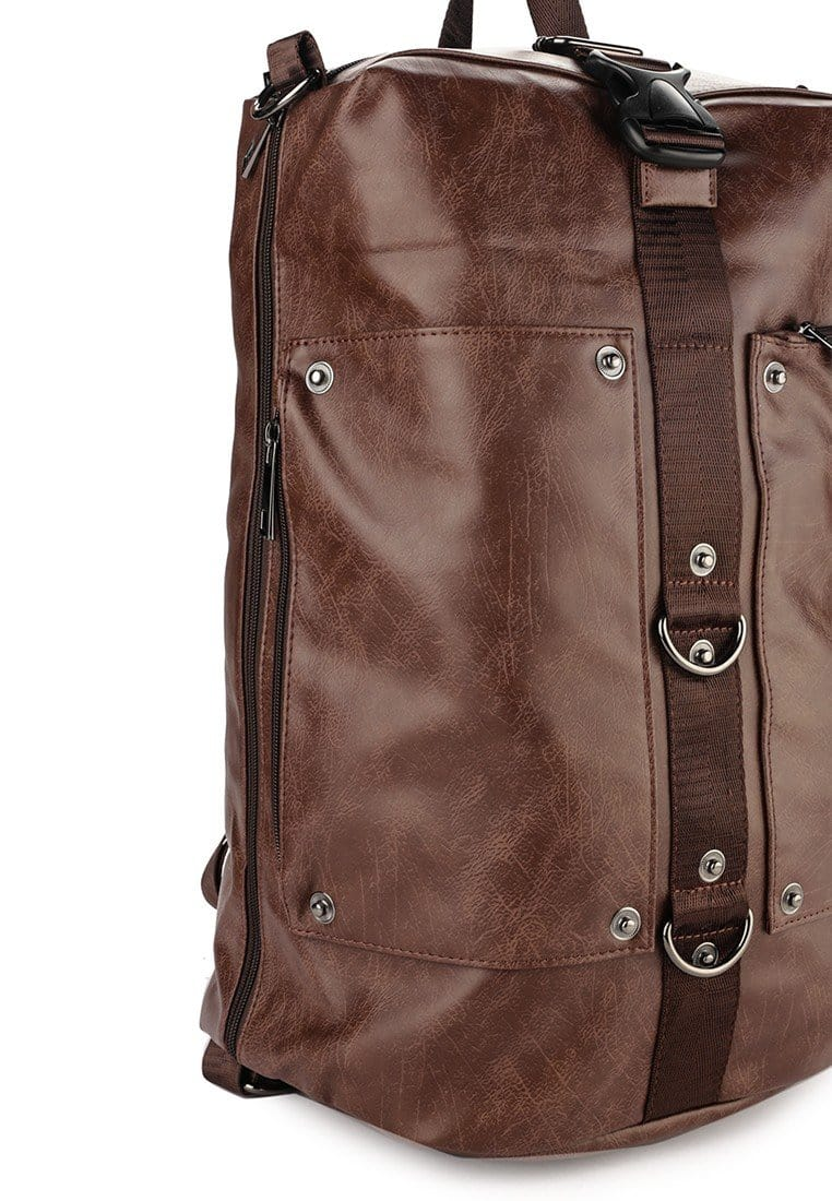 Distressed Leather Convertible Duffel Backpack - Brown Backpacks - Urban State Indonesia