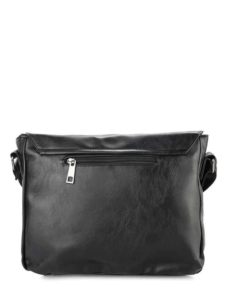 Distressed Leather EDC Medium Messenger Bag - Black Messenger Bags - Urban State Indonesia